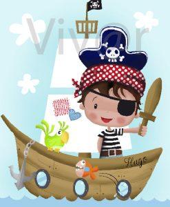 Cuadro Niño Pirata Navegando